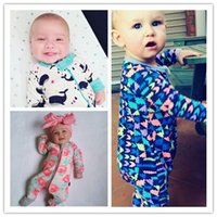 Wholesale Black Baby Feet - Baby Pajamas Romper with Hands foot cover Boy girl jumpsuits Print Long zipper Hotsale Ins 2017 Fall winter wholesale