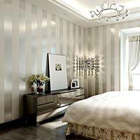 glitter wallpapers für wände großhandel-Klassischer metallischer Funkelnstreifen-Tapetenhintergrund-Wandtapete 3d der nichtgewebten Tapetenrolle weißer Hauptdekor