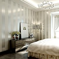 weiße papierrollen großhandel-Vliestapete Rolle klassischer metallischer Glanz Streifen Tapete Hintergrund Wand Tapete 3D-weißer Hauptdekor