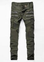 yeşil kot erkekler toptan satış-Yeni Ordu Yeşil Bisiklet Kot erkek Moda Pilili Streç Denim Skinny Jeans Fermuar Dekorasyon Ince Patchwork Pantolon Uzun Pantolon