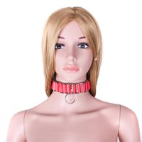Wholesale Collar S For Adults - Red Slave Collar PU Leather Necklace For Women Adult Game Sex Bondage Toys Adult Sex Products S&M BDSM Erotic Toys for Couples