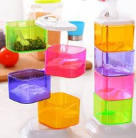 Wholesale Creative Bottles Jars Vertical Seasoning Box Rotary Pot Spice Rack in Herb Spice Tools Cruet condiments pots Set for Kitchen