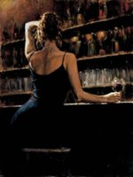 Wholesale Framed Sexy Woman in Wine Bar Fabian Perez Genuine High Quality Pure Hand Painted Wall Decor Art Oil painting on canvas Mulit sizes