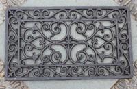 schmiedeeisen handwerk großhandel-Dekorative Schmiedeeisen Scroll Türmatte Outdoor Fußmatte Rechteckige Hausgarten Tür Ornament 33 x 57 cm Gusseisen Craft Vintage Brown