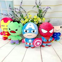 spinnenmann plüsch puppe großhandel-Neue Stile Kinder Plüschtiere Set Superhelden Spider-Man Iron Man Captain America Puppen The Avengers 2 Figur gefüllt Kinder Geschenk