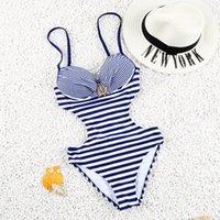 Wholesale Shining Swimwear - 2016 Hot! One Piece Swimwear Push Up Striped Fold Swimsuit Sexy Monokini Under-wired Bathing Suit with Shining Diamonds FD 81606