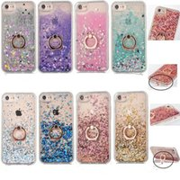 Wholesale Ring Liquid - Bling dynamic Liquid Case For iPhone X 8 7 Ring Holder Quicksand Cases TPU Frame Cover For iPhone 6 6S 7 Plus