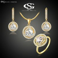 Wholesale George Necklaces - Wholesale-2015 George Smith G&S Women's jewelry set Yellow Gold 18K Plated Bright CZ Earring \ Ring \ Necklace Hand Made Jewelry
