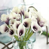 Wholesale Decorative Bouquets - Real Touch Lily Calla PVC Artificial Flower Bouquets Home Wedding Bridal Decor Decorative Flowers & Wreaths 9Colors