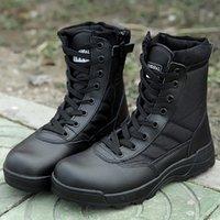 hombres negros de moda de los cargadores opiniones - Venta caliente hombre botas de combate militar Otoño del verano Inglaterra Invierno-estilo hombres de moda de los zapatos negro corto botas del ejército del desierto mlitary