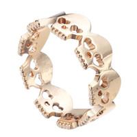 18k gold schädel ringe großhandel-10 teile / los Gold Überzogene Herz Schädel Ringe Rock N Roll Schädel Skeleton Ringe für Frauen 2016 Bague Homme Kostenloser Versand