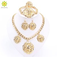 Wholesale China Lion - Wedding Gold Jewelry Sets Gold Plated Jewelry Sets Gold Plated Necklace Sets Big Lion Head Jewelry Sets