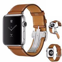 hebillas de cuero de la venda del reloj al por mayor-Nueva hebilla plegable de cuero genuino para Apple Watch Band Cuero 42mm 38mm Loop Pulsera para Iwatch Series 4 3 2 1 Correa