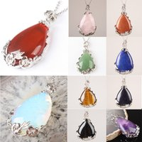 Wholesale Pendant Flower Amethyst - Wholesale-2015 Gift Pretty Lapis Amethyst Opal Carnelian Onyx Rose Quartz Goldstone Teardrop Inlaid Alloy Flower Pendant 1 PCS
