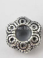 Wholesale Rubber Spacer Beads - 50pc Vintage Silver Stoppers W Rubber Pattern Charm Spacer Beads For Pandora Bracelet Necklace Jewelry Making DIY Accessories A239