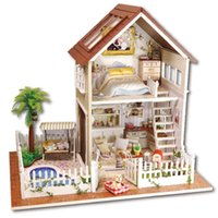 Wholesale Paris Gifts - Romantic Paris Apartment Dollhouse Mini DIY Wooden House Kit with LED Light Handmade Doll House Toys Creative Gifts Toys