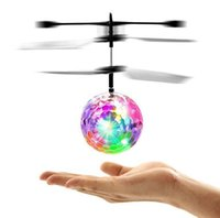 Wholesale Led Lighting For Helicopter - RC Drone Flying Ball Aircraft Helicopter Led Flashing Light Up Toys Induction Electric Toy Drone For Kids Children Christmas gifts