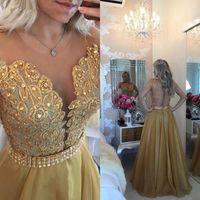Wholesale Chiffon Vestidos Festa - 2016 Free Shipping Pearls vestidos de Festa Gold Prom Dress See Through Back Appliqued Chiffon Evening Prom Gown HY1488