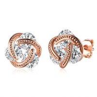 Wholesale 14k cz earrings - Fashion 18K Rose Gold Silver Plated CZ Crystal Stud Earrings For Women 2016 New Quality Ear Studs Earrings Jewelry KZCE093-A