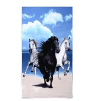 Wholesale Horse Bathroom - Free Shipping 2016 Big Bath Men Beach Towels Horse Dolphin Microfiber Fabric 100*180cm Bath Towel Bathroom Hotel Beach Towels For Adults