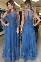 New Blue Evening Dresses 2018 Sheer Neck Appliques Beads Illusion Back A Line Floor Length Prom Festa Partyant Vestidos baratos Personalizados