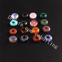piedras de cuarzo sueltas al por mayor-10 * 4 mm Color mezclado aleatorio Natural Mineral Roca Cuarzo Cristal Granos del encanto Perforado Agujero Perlas de piedra Suelta Spacer Bead para DIY Joyería que hace
