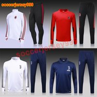 Wholesale Windproof Sweater - Thailand quality 2017 2018 AC milan serie A soccer training suits Uniforms football tracksuits Survetement long sleeve sweater chandal