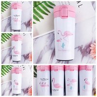 Wholesale Stainless Steel Bottle Print - 4 Colors 300ml Flamingo Printed Tumbler Cup Vacuum Insulated Cup Stainless Steel Mug Portable Business Water Bottle CCA7300 50pcs