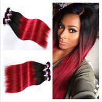 Wholesale red ombre hair resale online - B Red Brazilian Ombre Hair Weaves Silky Straight Human Hair Extensions Two Tone Bundles Red Ombre Brazilian Virgin Hair Double Wefts