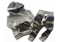 Wholesale 4t Camouflage Clothes - 2017 Baby Clothing Sets Boys Girls Camouflage Hoodies Tops Pants 2Pcs Set Autumn Toddler Pullover Boutique Clothes Infant Outfits