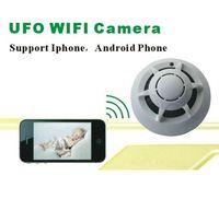 p2p rauchmelder wifi kamera großhandel-P2P Wireless IP Netzwerk Kamera UFO Wifi Kameras Rauchmelder DVR Digital Video Recorder Cam Sicherheitssystem Kostenloser Versand