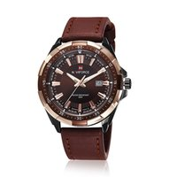 Wholesale Quartz Japan Movt Leather Straps - 2016 New Arrival Mens Top Brand NAVIFORCE 9056 Tag Watches High Quality Leather Strap Date Japan Movt Quartz Military Hours