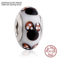 Wholesale Silver Core Charms - 925 Sterling Silver Core Classic Mouse Murano Glass Charms Bead Fit Brand Bracelets Glass Bead Diy Charm Bracrlets Fine Jewelry