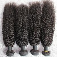 Wholesale Kinky Curl Hair 4pcs - 100% 8A Cuticle Mongolian Hair Weft Extension Natural Color 4pcs lot Kinky Curl Hair Bundles Unprocessed Human Hair Weave
