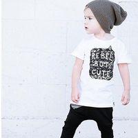 Wholesale Rebel T - INS Baby Girls boy's Kids infant toddler Summer clothes shirt tops T-shirt Cotton Rebel but Cute Cool boy Hot pajamas