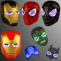 Wholesale Iron Children - Led Glowing Light Mask hero SpiderMan Captain America Hulk Iron Man Mask For Kids Adults Party Halloween Birthday Full Face Masks KKA2331