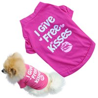 Wholesale Drop Shipping Shirts - L044 summer spring pet dog vest cotton T-shirt puppy doggy shirt I Give Free Kisses print doggie cloth drop shipping