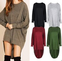 Wholesale Round Bats Shirts - Women Bat Baggy Shirts Long Sleeve Irregular Tops Fashion Loose Blouse Casual Sexy Blusas Round Collar Tees Women's Clothing OOA3822