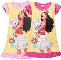 Wholesale Cool Girl Costumes - Cartoon Moana Dresses for Girls Robe Princesse Vaiana Pajamas Cool Summer Beach Wear Little Kids Children Birthday Party Costume