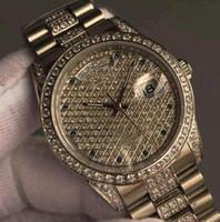 relógios de pulso venda por atacado-Marca Clássica Automática Relógio de luxo para homens Moderno Presidente Day-Date Diamante Dial Bezel Stainless Steel Luminous Men Relógios de pulso mecânicos