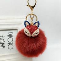 Wholesale Red Hot Fox - New Hot Sell Rabbit Fur Ball Rhinestone Fox Plush Fur Key Chain Car Key Ring Leather Chain Keychain Pendant Holiday Gifts Jewelry K356