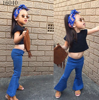 Wholesale American Girl Black Boots - girl sets gir summer clothes 2 pcs sets girl black short sleeves T-shirts tops +boot cut jeans sets children sets