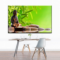 Wholesale modern buddha oil painting - ZZ455 modern canvas art buddha bamboo stone water canvas pictures oil art painting for home decoration unframed prints art decor