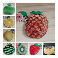 Monedero De La Moneda De La Fresa Baratos-Chicas Cute Fruits pu Coin Purse Key case Portatarjetas Fashion imitation fruit pouch Lemon Pineapple Orange Apple Strawberry Sandía