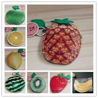 Wholesale Cute Key Pouch - Girls Cute Fruits pu Coin Purse Key case Card holders Fashion imitation fruit pouch Lemon Pineapple Orange Apple Strawberry Watermelon
