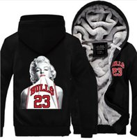 Wholesale Plus Size Active Wear - Winter autumn 2017 Winter New Arrival Thicken Hoodie Jacket Marilyn Monroe Wearing Fleece Coat Long sleeves sweatshirt Zipper Tops Plus size