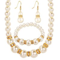 Wholesale Gold Plated Bridal Wedding Sets - pearl jewelry sets african bead Platinum plating austrian crystal fashion necklace earrings wedding women bridal gift new party set jewelrys