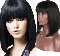 Wholesale Short Real Hair Wigs Women - Short Bob Lace Wig Straight Real Front Lace Wigs With Bangs For Women Natural Indian Bob Wig DHL Free Shipping