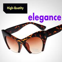 Wholesale Eye Glasses Half Frame Men - The new high-quality cat eye sunglasses European and American retro sunglasses Half frame plastic dark glasses frog mirror