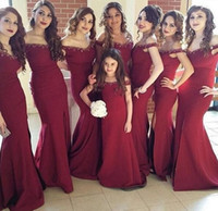 Wholesale Romantic Evening Dresses Women - Romantic Beaded Long Bridesmaid Dresses 2016 Burgundy Mermaid Off The Shoulder Wedding Party Wedding Guest Dresses Women Formal Evening Gown